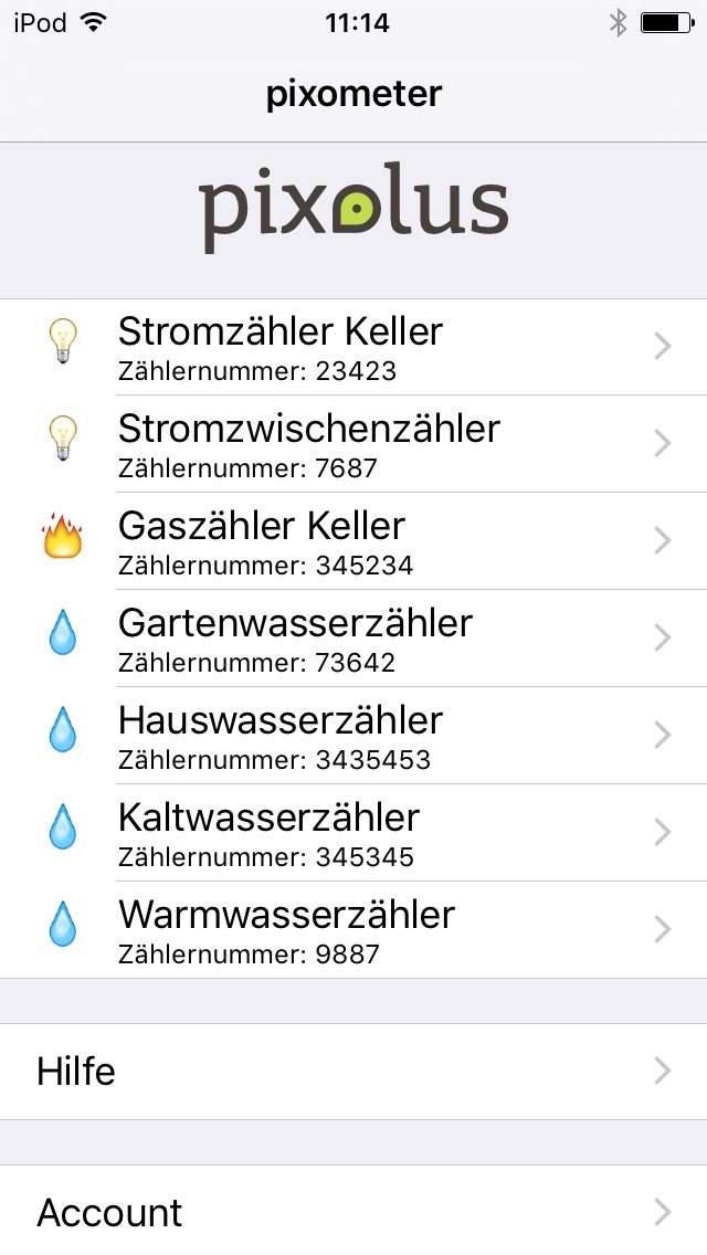List of meters that are read by pixometer app for energy consumption overview